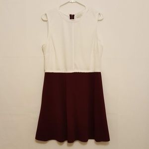 Forever21+ Sheath Dress- White and Maroon